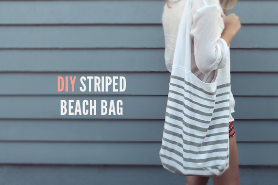 diy striped beach bag