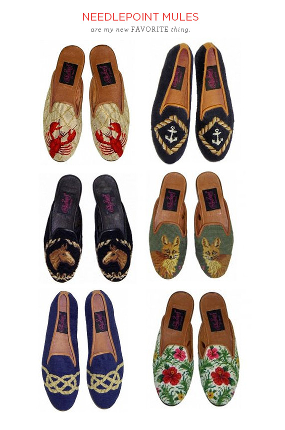 needlepoint mules