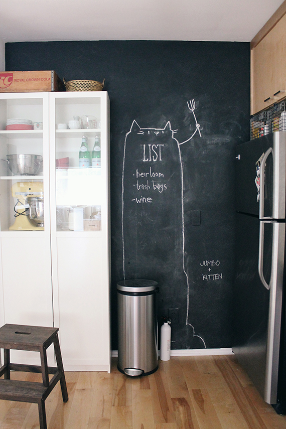 chalkboard kitchen wall - almost makes perfect