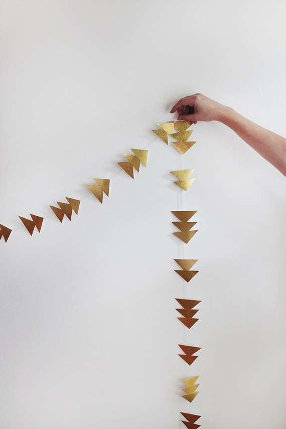 diy triangle gold garland