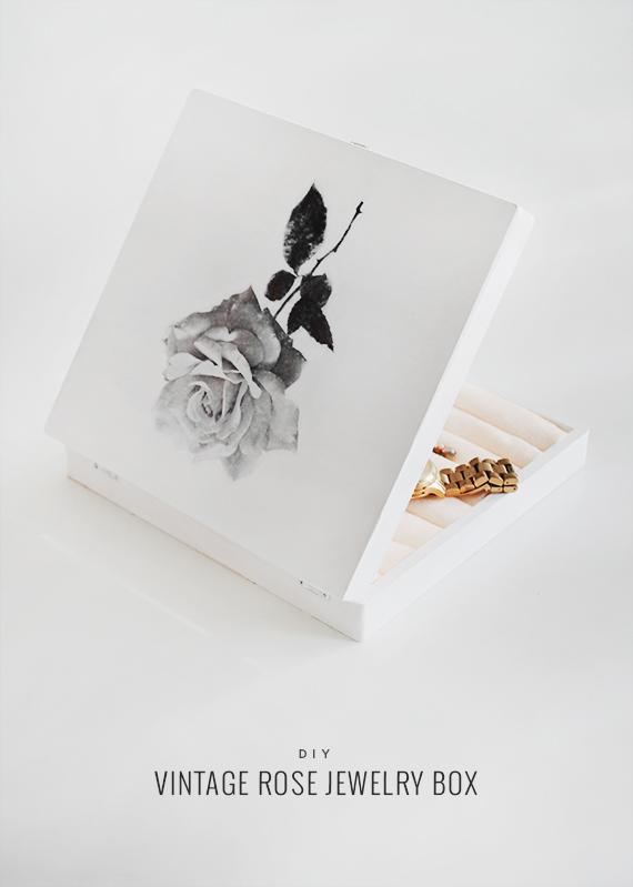 diy vintage rose jewelry box