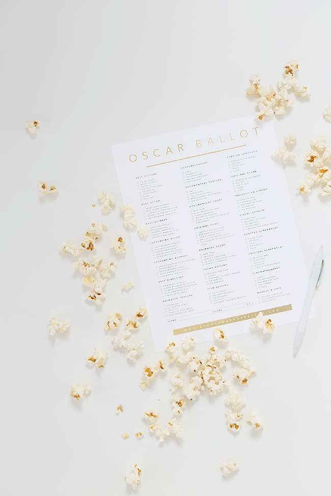 2016 printable oscar ballot | almost makes perfect