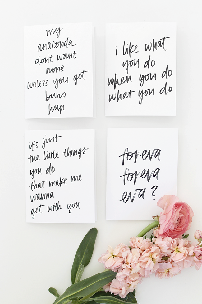 printable rap lyric valentines cards - almost makes perfect