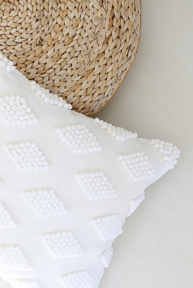 diy modern pom pom pillow almost makes perfect. Black Bedroom Furniture Sets. Home Design Ideas