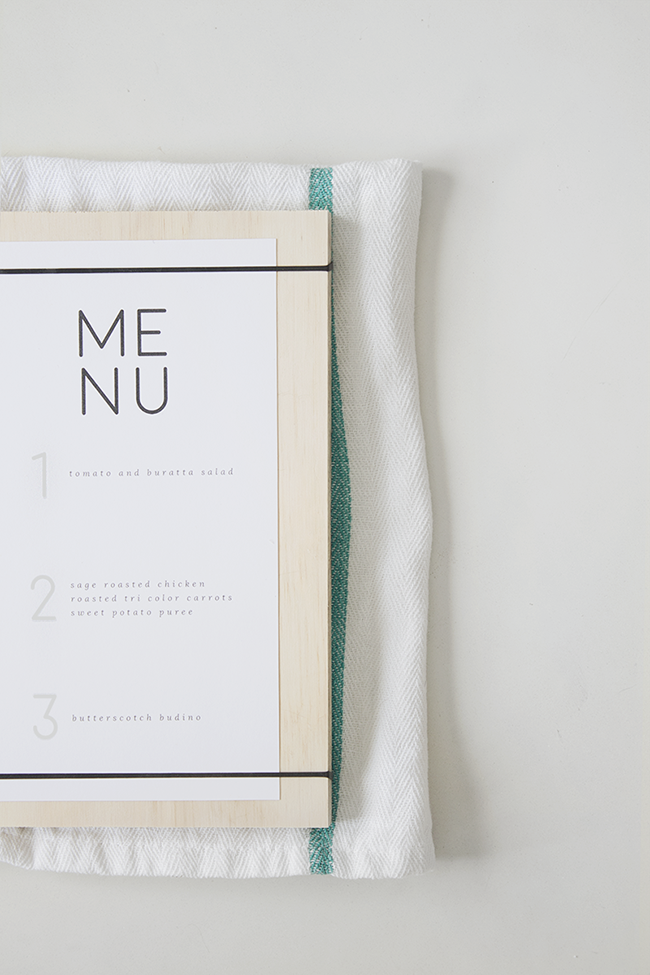 DIY wood + rubber band menus | almost makes perfect