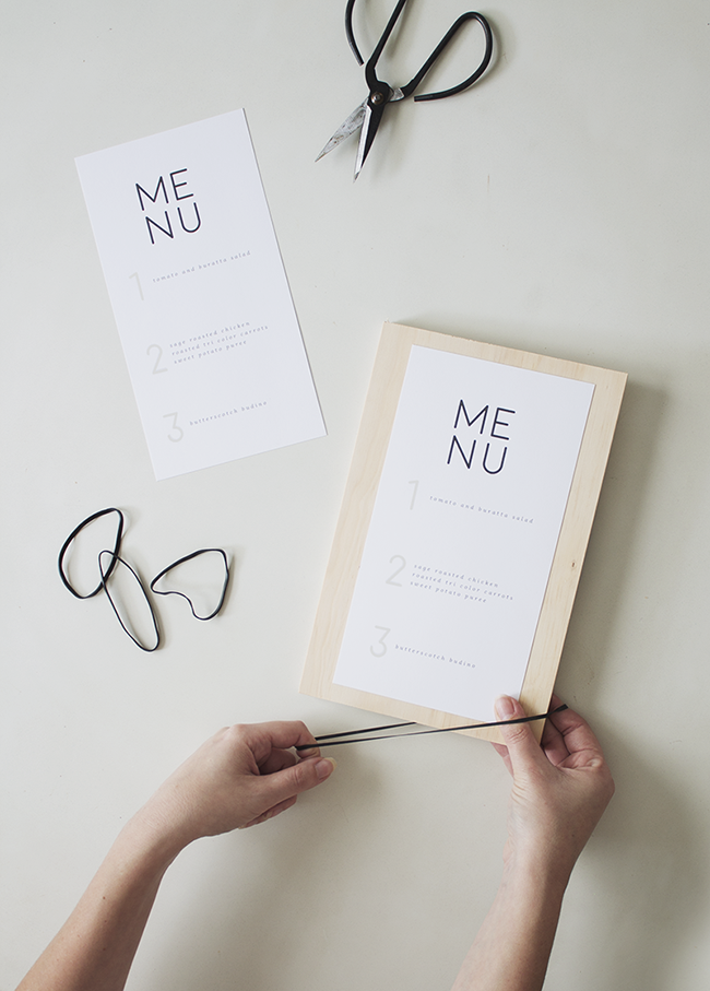 DIY wood + rubber band menus with free printable   almost makes perfect