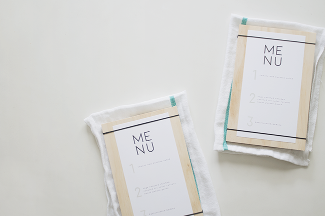 DIY wood + rubber band menus with free printable menu | almost makes perfect