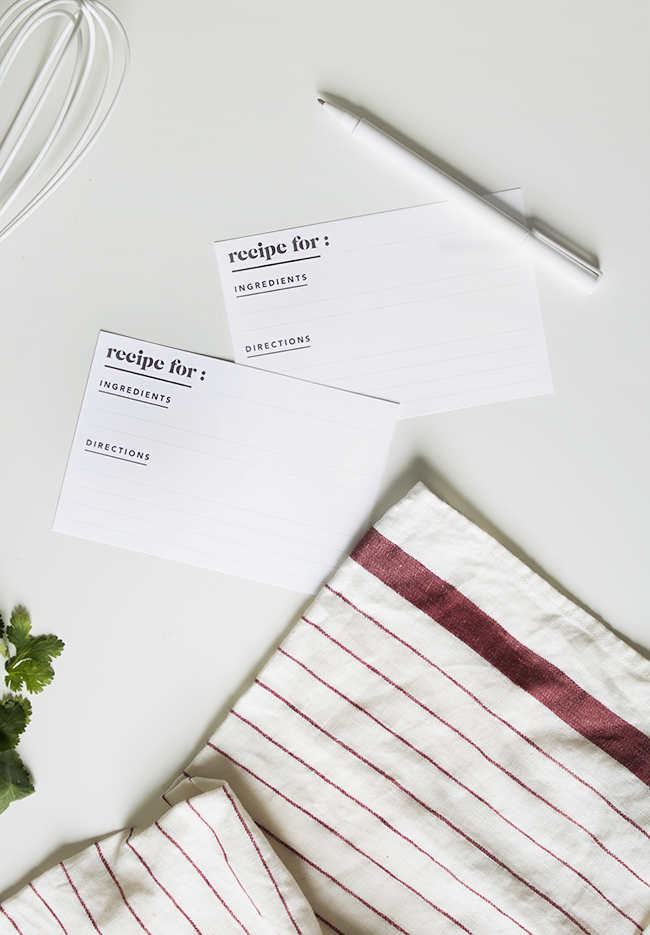 printable minimal recipe cards @mollymadfis