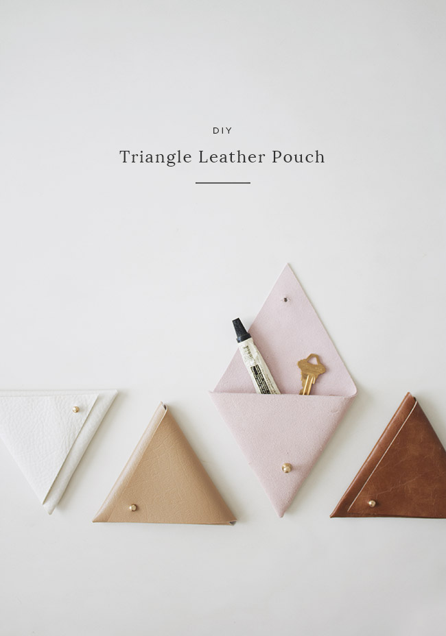 DIY triangle leather pouch |  almost makes perfect
