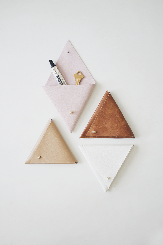 DIY triangle leather pouches | almost makes perfect