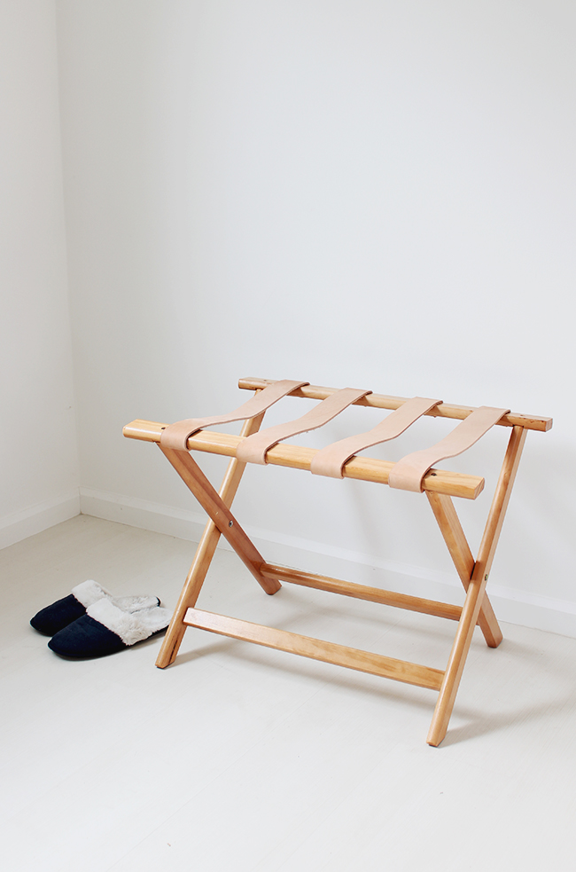 DIY leather luggage rack