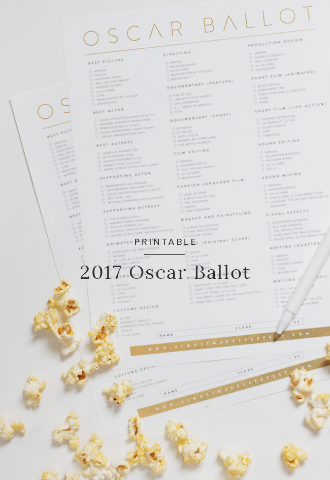 graphic regarding Oscar Ballots Printable identified as printable 2017 oscar ballot - practically produces suitable
