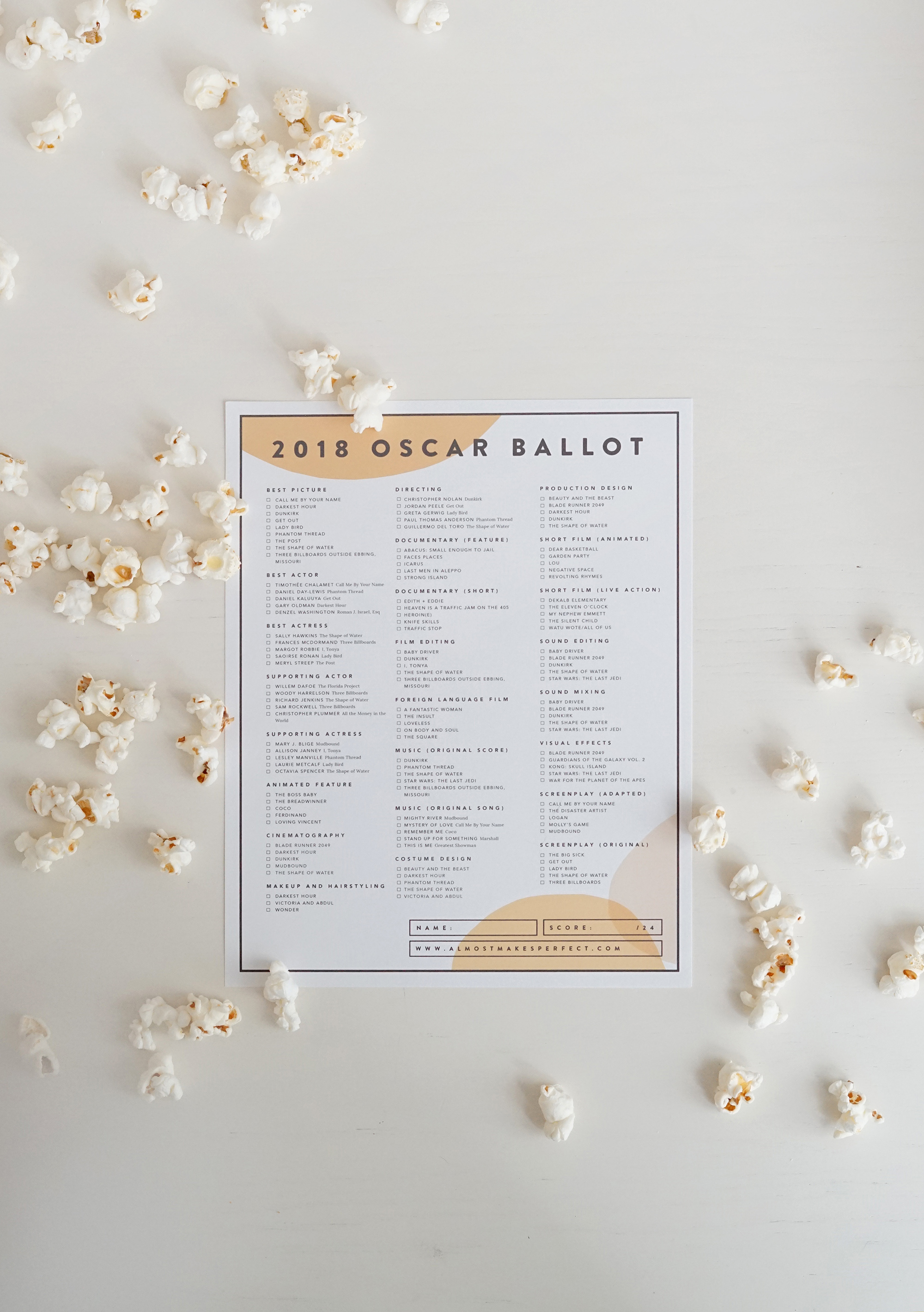 picture relating to Printable Ballot called printable 2018 oscar ballots - approximately results in excellent