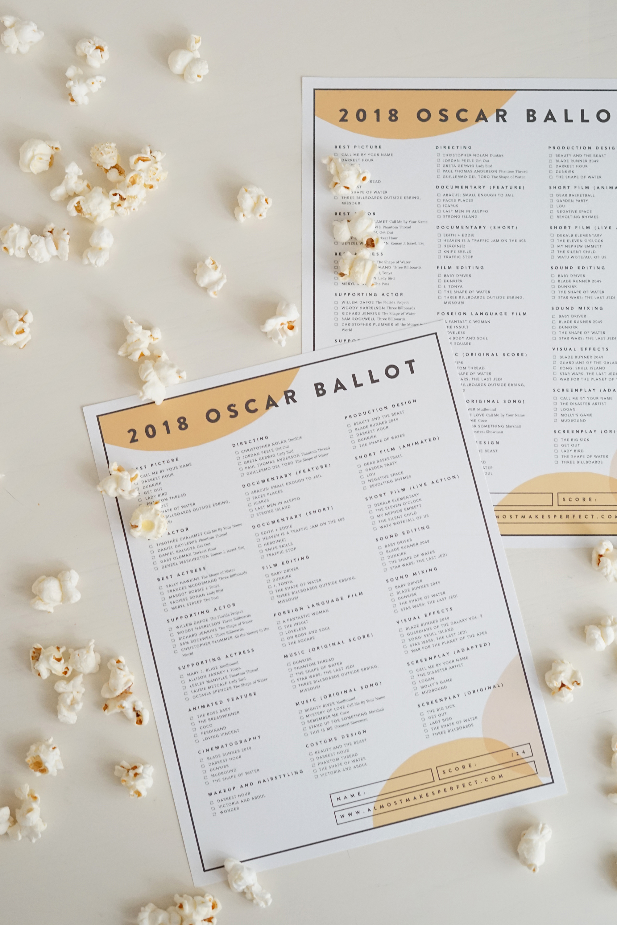 image relating to Golden Globe Ballot Printable titled Oscars Voting Sheet
