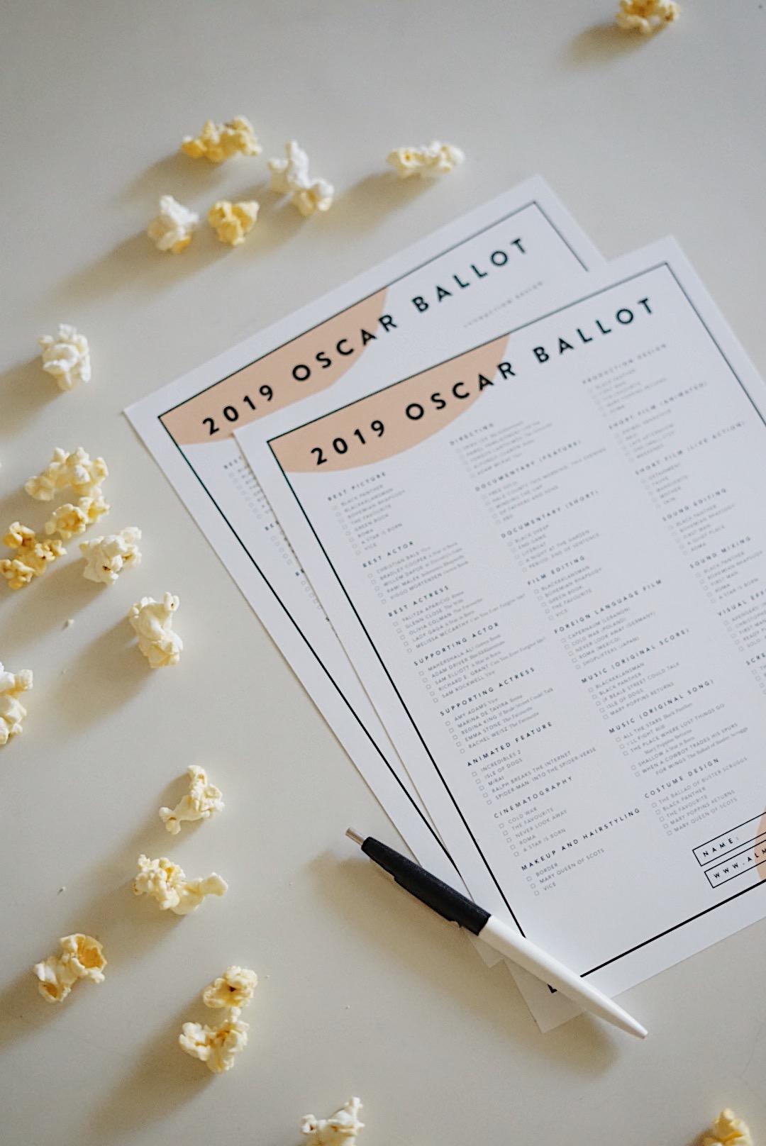 Printable 2019 Oscar Ballots Almost Makes Perfect