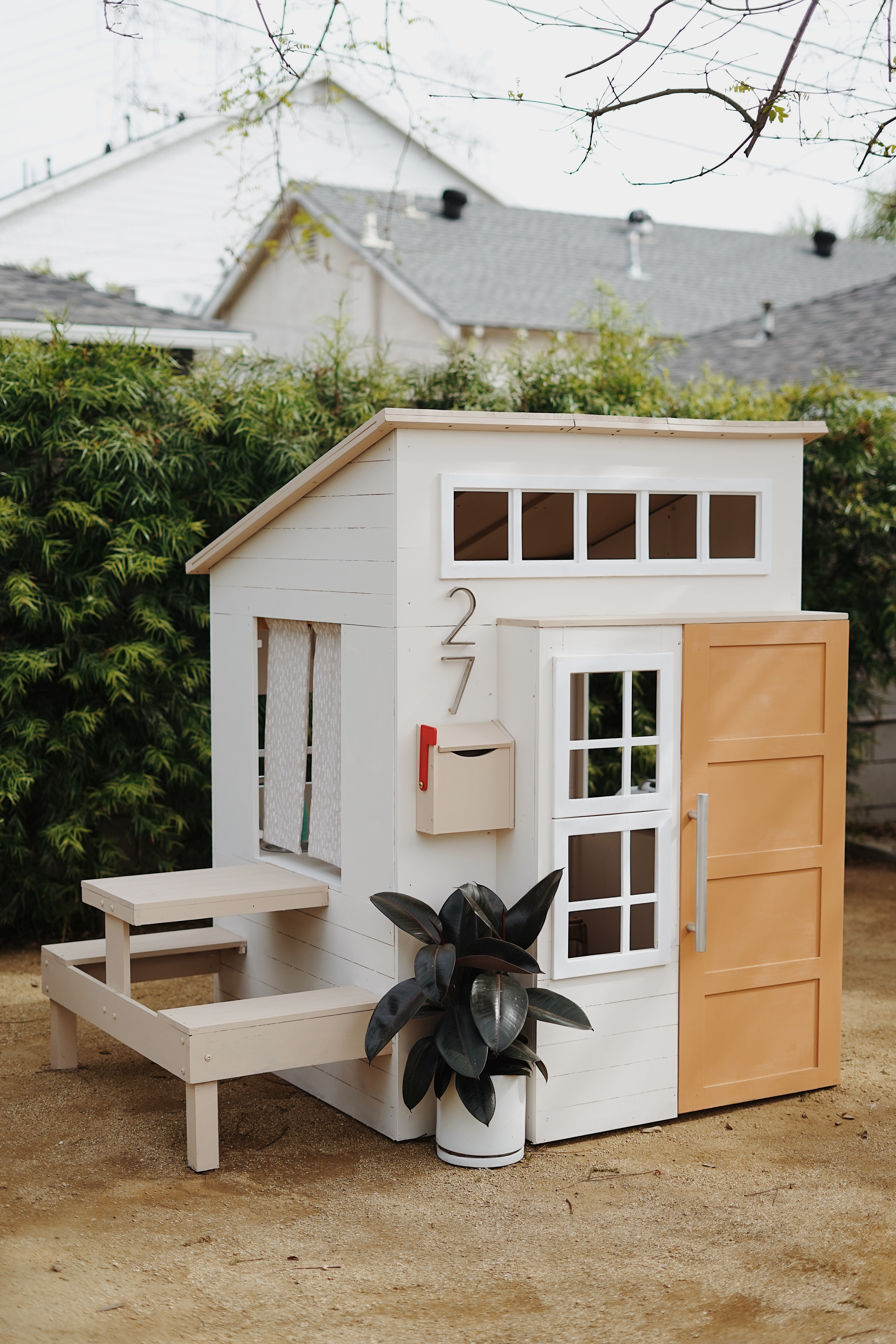 A Modern Outdoor Kids Playhouse Makeover Almost Makes Perfect